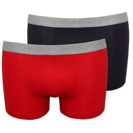 Cotton Essentials 2-Pack Boxer Trunks, Laque Red/Navy