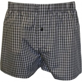 Fancy Woven Checked Button-Fly Boxer Shorts, Black