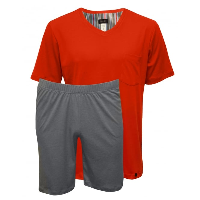 Hanro Night & Day Jersey T-Shirt & Shorts Pyjama Set, Lava Red/Grey