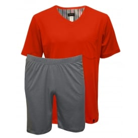 Night & Day Jersey T-Shirt & Shorts Pyjama Set, Lava Red/Grey