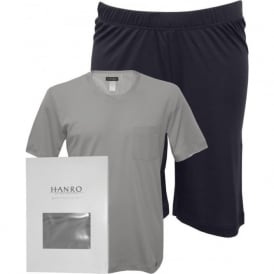 Night & Day Jersey T-Shirt & Shorts Pyjama Set, Mineral Grey / Navy