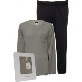 Night & Day Jersey Top & Bottoms Pyjama Gift Set, Grey/Navy