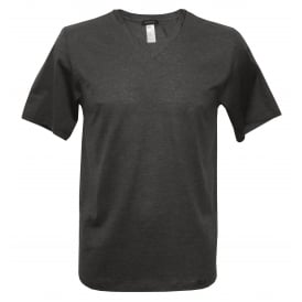 Sporty Stripe V-Neck Short-Sleeve T-Shirt, Night Grey Melange