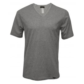 Sporty V-Neck Short-Sleeve T-Shirt, Middle Grey Melange