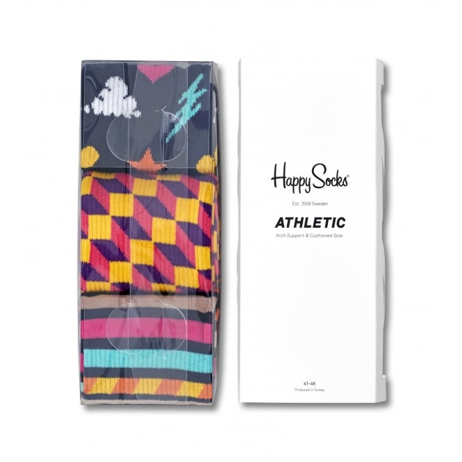 Happy Socks 3-Pack Athletic Dots/Zags/Stripes Sports Socks, Navy/White