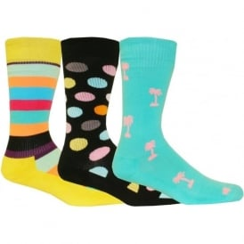 3-Pack Athletic Sports Socks Gift-Pack, Dots/Stripes/Palm Trees