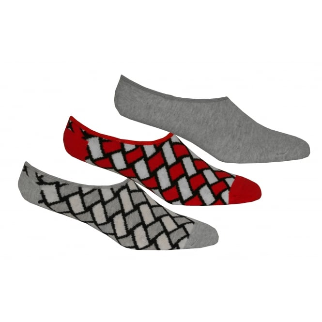 Happy Socks 3-Pack Basket Weave Trainer Socks, Grey/Red