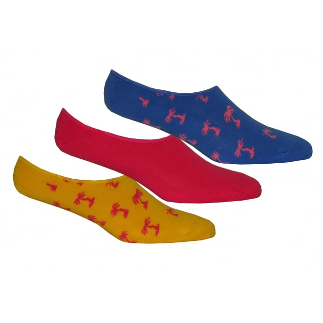 Happy Socks 3-Pack Palm Beach Trainer Socks, Blue/Yellow/Pink