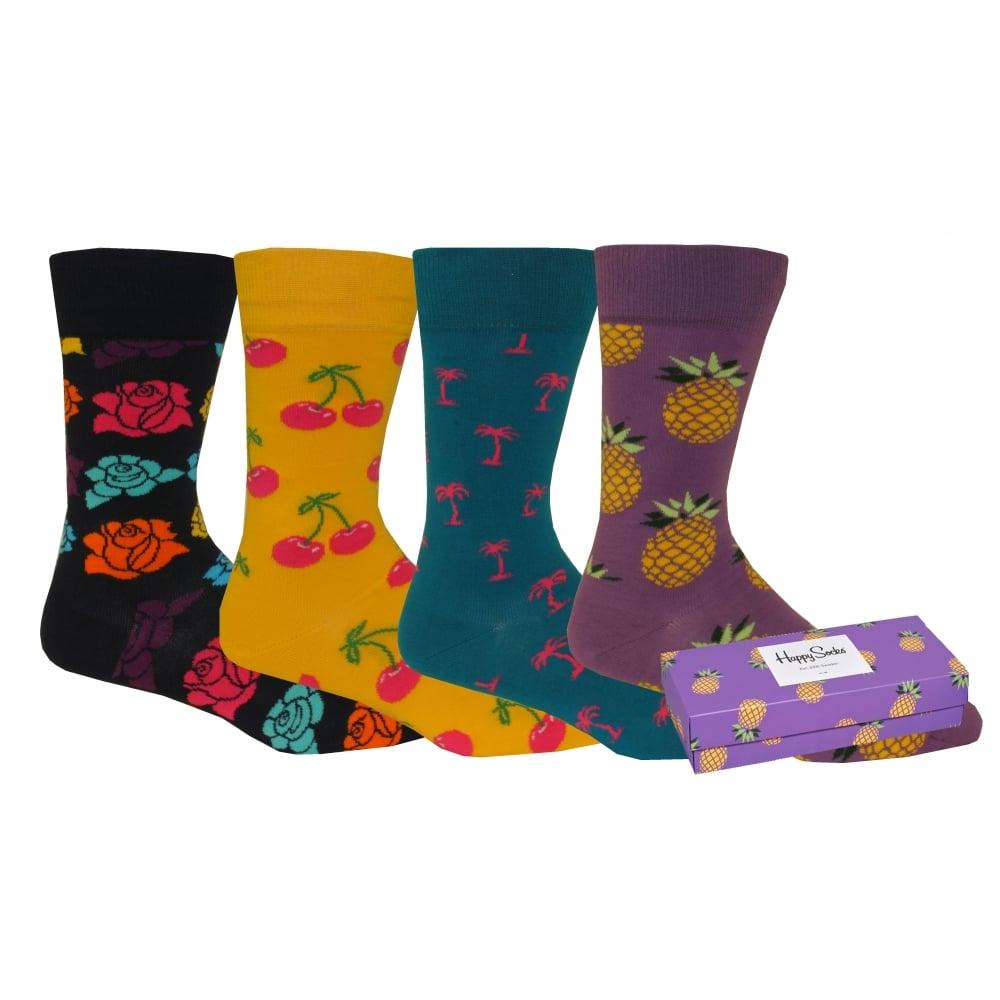 ae5ab7527 Happy Socks 4-Pack Cherry Pineapple Roses Palm Socks Gift Pack ...
