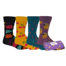 4-Pack Cherry/Pineapple/Roses/Palm Socks Gift Pack, Blue/Yellow/Purple/Navy