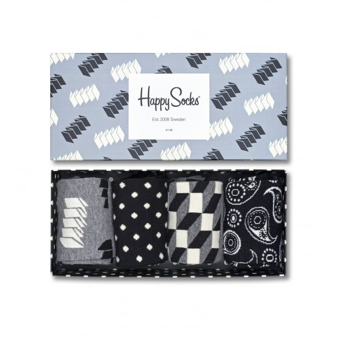 Happy Socks 4-Pack Optic Socks Gift Pack, Black/Grey