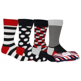 4-Pack Stripes & Dots Socks Gift Pack, Navy/White/Red