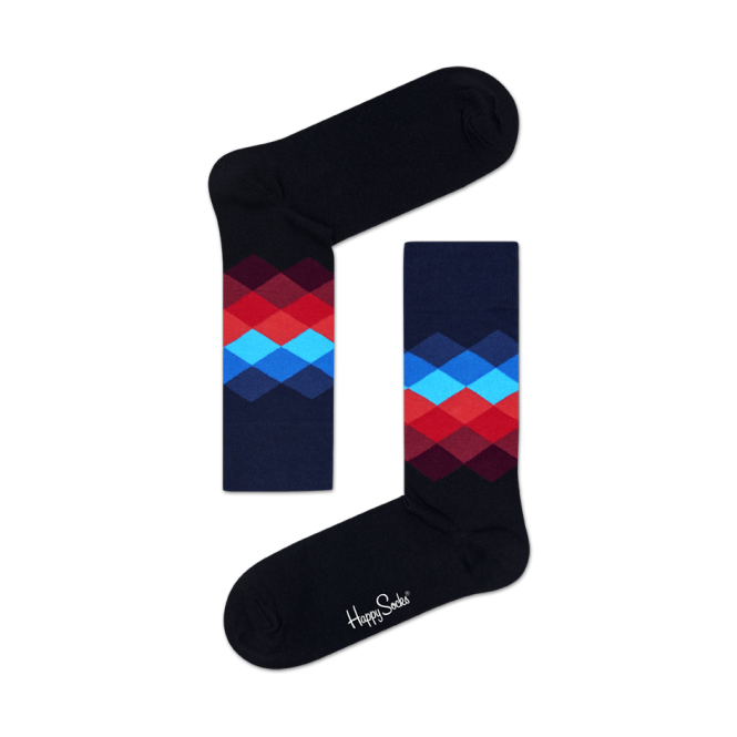 Happy Socks Faded Diamond Socks, Navy with red/blue