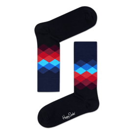 Faded Diamond Socks, Navy with red/blue