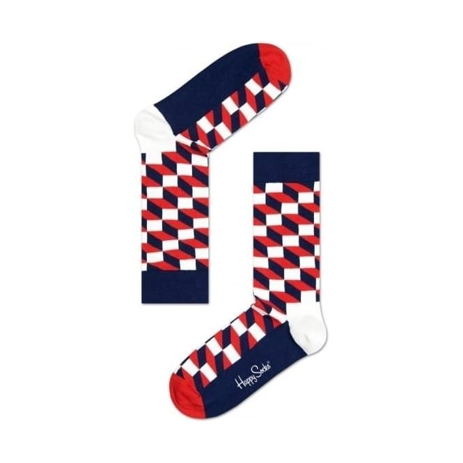 Happy Socks Filled Optic Socks, Navy/Red/White