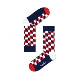 Filled Optic Socks, Navy/Red/White