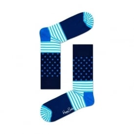Stripes and Dots Socks, Navy/Blue