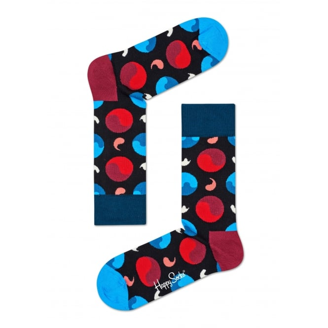 Happy Socks Yin Yang Socks, Navy/Red