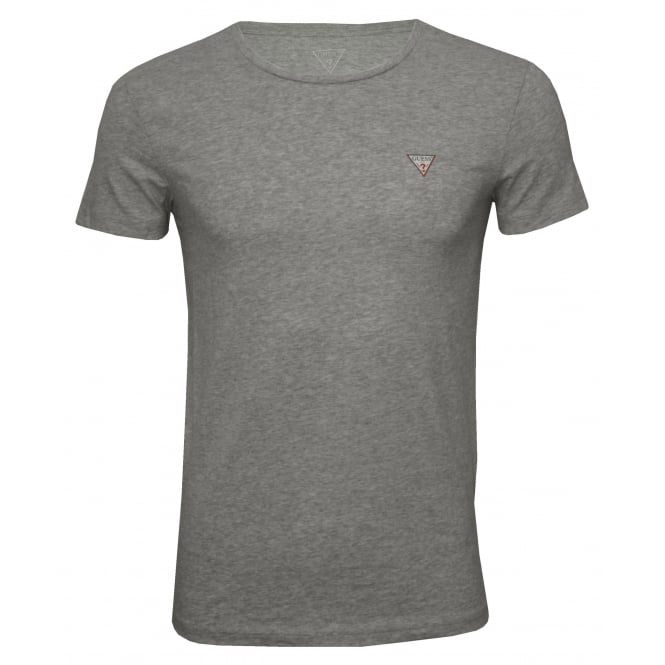 Guess Hero Crew-Neck T-Shirt in Stretch Cotton, Grey Melange