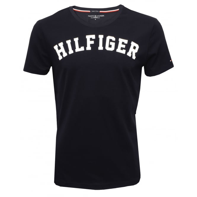 Tommy Hilfiger Hilfiger Crew-Neck Organic Cotton T-Shirt, Navy with white