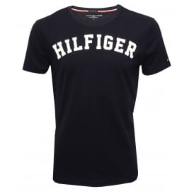 Hilfiger Crew-Neck Organic Cotton T-Shirt, Navy with white