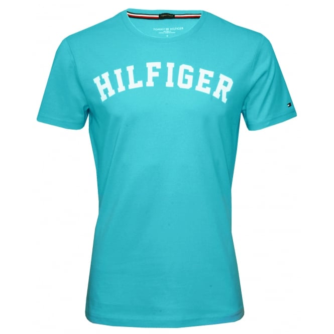 Tommy Hilfiger Hilfiger Crew-Neck Organic Cotton T-Shirt, Sky Blue with white