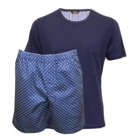 Crew-Neck T-Shirt & Woven Shorts Pyjama Set, Navy/Blue