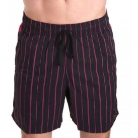 India Swim Shorts, Black with pink stripes