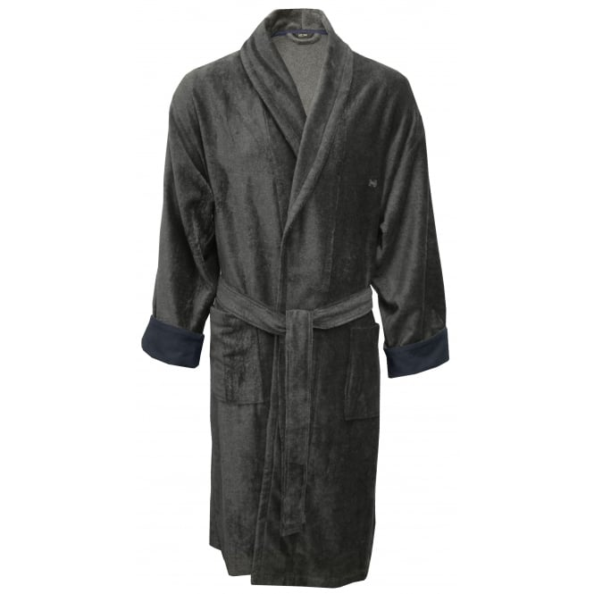 HOM Roy Velour Sponge Luxe Bathrobe, Grey