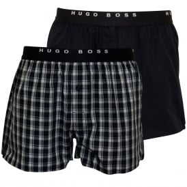 2-Pack Check & Plain Boxer Shorts, Blue/Black