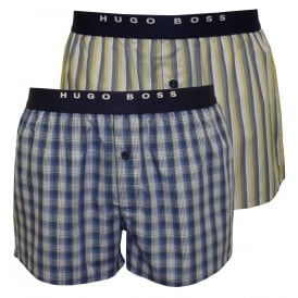 2-Pack Check & Stripe Boxer Shorts, Blue