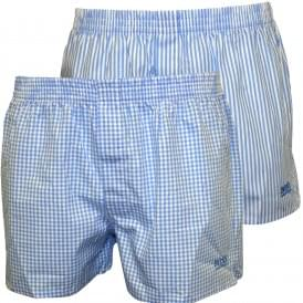 2-Pack Check & Stripe Heritage Boxer Shorts, Sky Blue