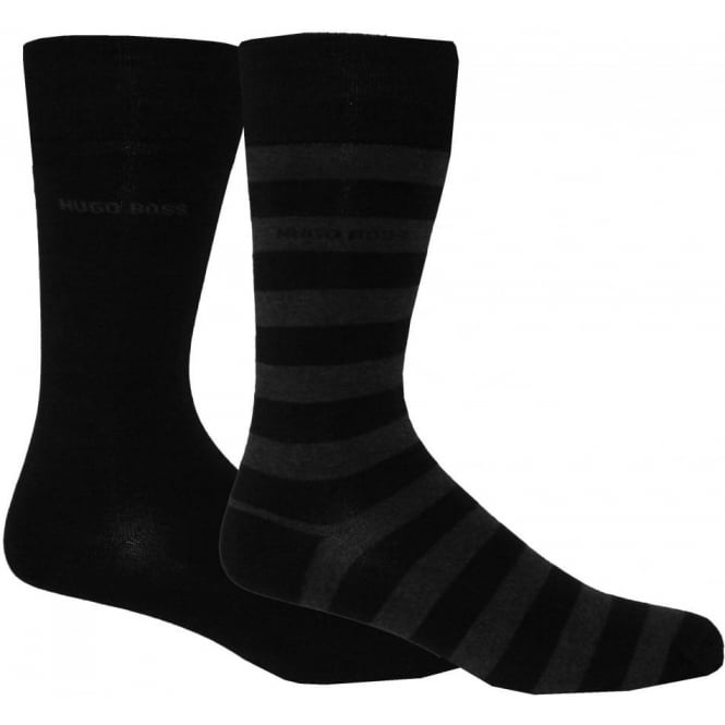 Hugo Boss 2-Pack Combed Cotton Block Stripe & Solid Socks, Black/Grey
