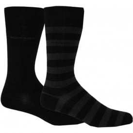 2-Pack Combed Cotton Block Stripe & Solid Socks, Black/Grey