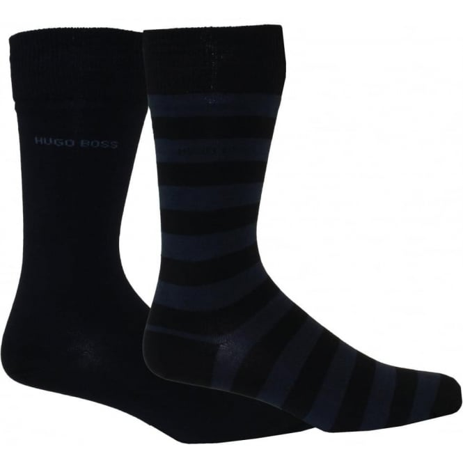 Hugo Boss 2-Pack Combed Cotton Block Stripe & Solid Socks, Navy/Blue