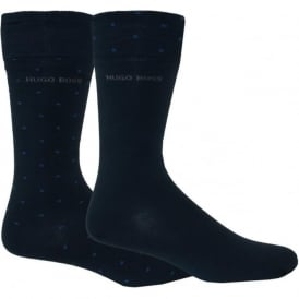 2-Pack Combed Cotton Reverse Spot Socks, Navy/Blue