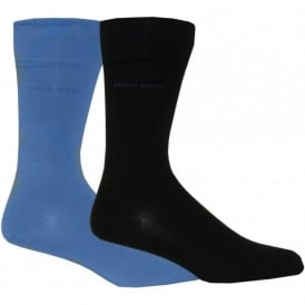 2-Pack Combed Cotton Socks, Navy/Blue