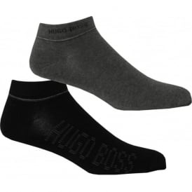 2-Pack Combed Cotton Trainer Socks, Grey/Black