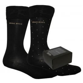 2-Pack Mercerised Cotton Socks Gift-Set, Black/gold