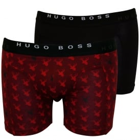 2-Pack Reindeer Print & Solid Boxer Briefs, Red/Black