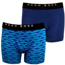 2-Pack Sharks Print Boxer Briefs, Blue/Aqua