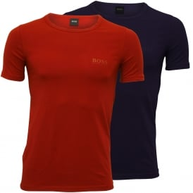 2-Pack Slim-Fit Crew-Neck T-Shirts in Stretch Cotton, Red/Blue