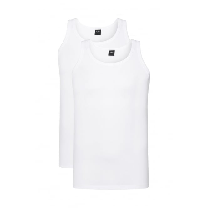 Hugo Boss 2-Pack Slim-Fit Vests in Stretch Cotton, White