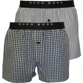2-Pack Stripe and Check Woven Boxer Shorts, Blue/White