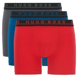 3-Pack Coloured Boxer Briefs, Blue/Grey/Red