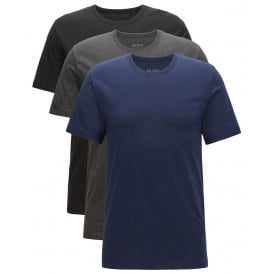 3-Pack Crew-Neck T-Shirts, Navy/Charcoal/Black