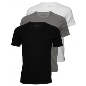 3-Pack Regular-Fit Crew-Neck T-Shirts, Black/White/Grey