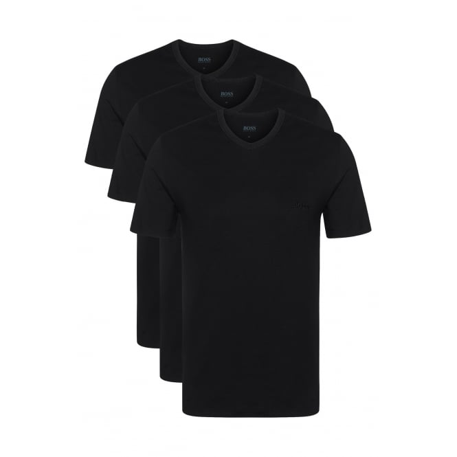 Hugo Boss 3-Pack Regular-Fit V-Neck T-Shirts, Black