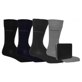 4-Pack Classic Socks Gift Tin, Black/Grey/Navy