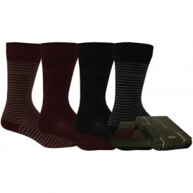 4 Pack Stripe & Solid Combed Cotton Socks Gift-Set, Black/Grey/Purple
